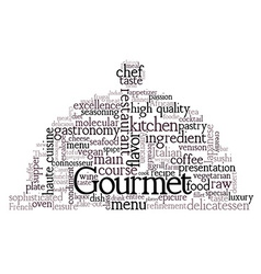 Gourmet theme word cloud vector