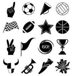 Sports fans icons set vector