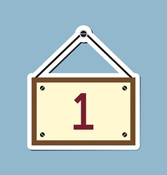 Number one with hanging wooden sign board vector