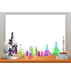 Chemistry equipment on table vector