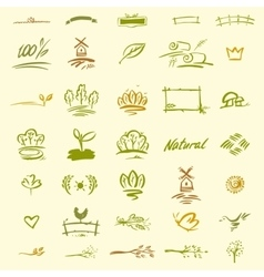 Set of natural elements for design vector