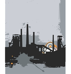Grunge factory silhouette vector