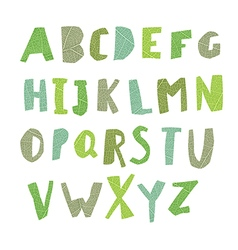 Leaf cut alphabet easy edited colors of letters vector