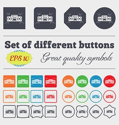 Radio cassette player icon sign big set of vector