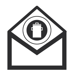 Envelope with garbage can icon vector