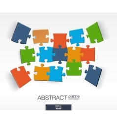 Abstract background with connected color puzzles vector image vector image