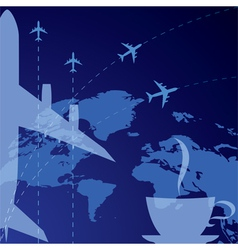 airplane and cup of coffee vector image vector image