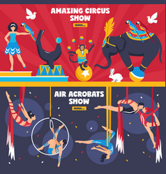 amazing circus banners set vector image vector image
