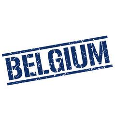 Belgium blue square stamp vector
