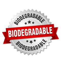 biodegradable round isolated silver badge vector image vector image