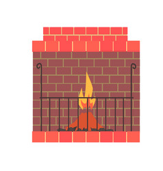 Brick home fireplace with fire vector