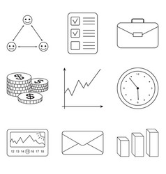business icons set for business finance vector image