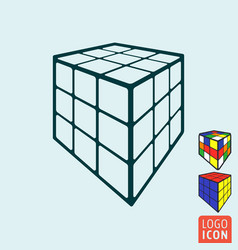 Cube toy icon 3d combination puzzle cube vector