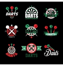 Darts Labels and Icons Set vector image