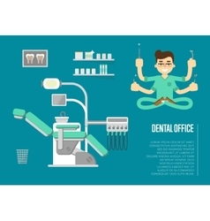 Dental office banner with male dentist vector image vector image