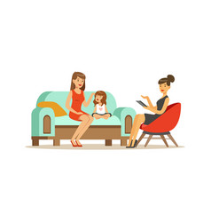 Family psychologist counseling woman and crying vector
