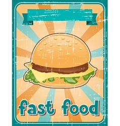 Fast food background with hamburger in retro style vector image vector image
