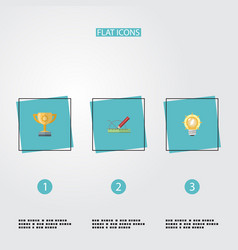 flat icons design bulb championship and other vector image vector image