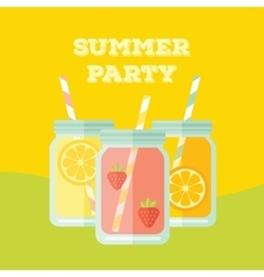 Flat party invitation with mason jar vector image vector image