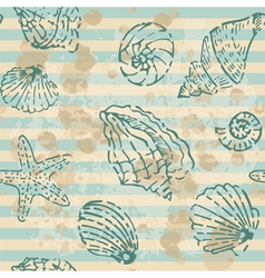 Grunge sea seamless pattern with contours shells vector