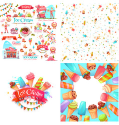 ice cream elements vector image