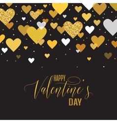 Love card with golden glitter heart vector