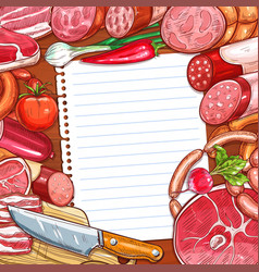 Meat and sausages with recipe or menu blank paper vector