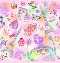 paris city landmark seamless pattern travel vector image