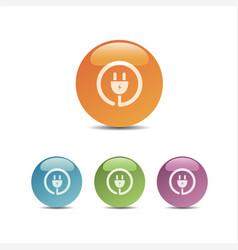 plug icon on colored bubbles vector image