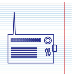Radio sign navy line icon on vector