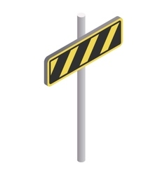 Road sign yellow and black stripes icon vector