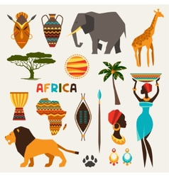 Set of african ethnic style icons in flat style vector