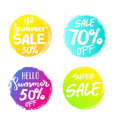 Set of colorful summer sale circles signs vector