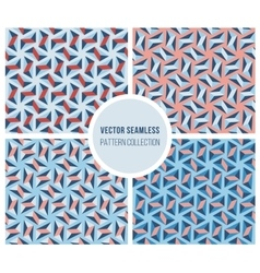 Set of four seamless blue pink geometric vector