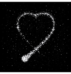Shooting star in the shape of heart vector
