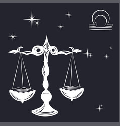 Sign of the zodiac libra is the starry sky vector