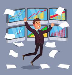 Successful trader stock market graph vector