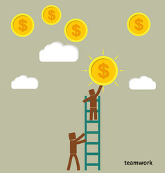the concept of teamwork businessman takes a coin vector image vector image