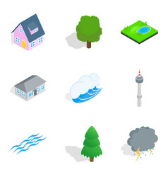 Townlet icons set isometric style vector