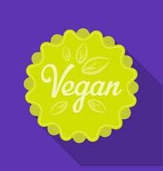 vegan icon in flat style isolated on white vector image vector image