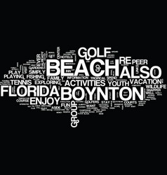 Youth activities at boynton beach florida text vector