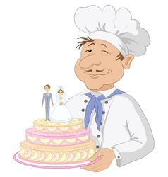 Cook with holiday wedding cake vector