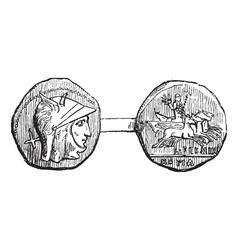 Roman coin vintage engraving vector