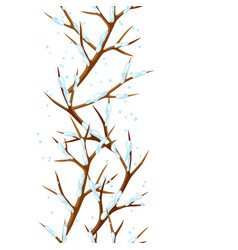 Winter seamless pattern with branches of tree and vector