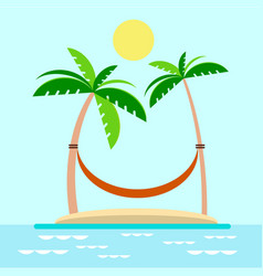 Hammock with palm trees on beach vector