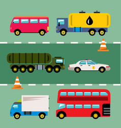 Set of transportation flat style colorful vector