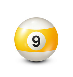 Billiardyellow pool ball with number 9snooker vector