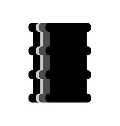Barrel oil flat isolated black fuel container on vector