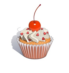 Cake with cherry vector