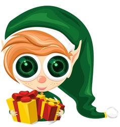 Cute elf presents vector
